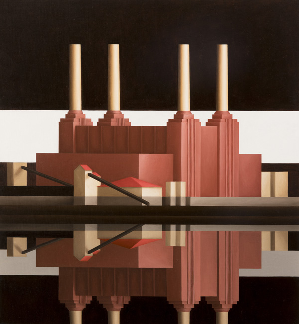 Battersea, Reflection White Stripe, 2017, Oil on canvas, 66 x 61 cm. (c) Renny Tait, Courtesy of Flowers Gallery London and New York