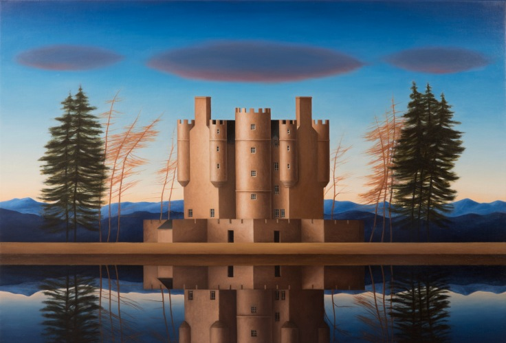 Renny Tait. Braemar castle. 2016. Oil on canvas, 76.2 x 111.8 cm. (c) Renny Tait, Courtesy of Flowers Gallery London and New York