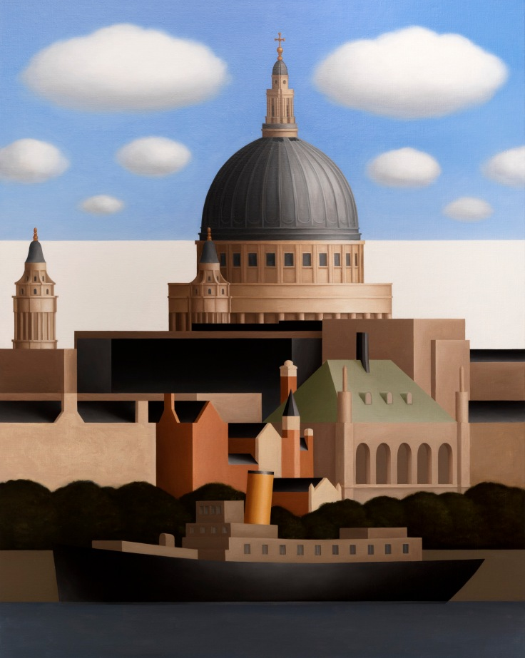 Renny Tait, St Paul's Cathedral, Blue Sky, Clouds, from the Thames, 2017