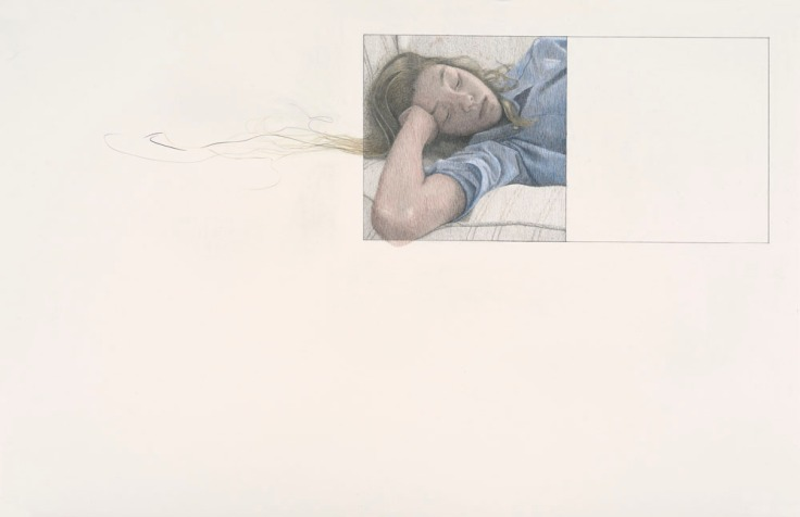 School Girl, 2017. Graphite and colour pencil on Arches paper. 46 x 102cm